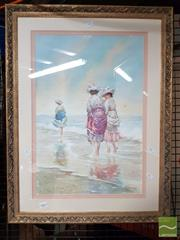 Sale 8483 - Lot 2080 - R. Joel, Ladies on the Beach, Watercolour SD85LR, 54.5x37cm