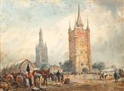 Sale 8565A - Lot 5076 - William Young (c1906 - 1940) - Belfry and Cathedral, 1925 27.5 x 37.5cm