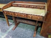 Sale 8562 - Lot 1004 - Oak Works Desk with Tooled Top & Eight Drawers