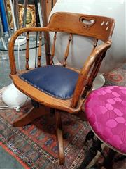 Sale 8843 - Lot 1073 - Timber Captains Chair with Leather Seat