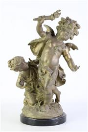 Sale 8890 - Lot 6 - Cast Cherub Figural Group on Marble Base (H41.5cm) A/F arm repaired