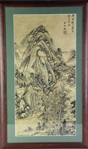 Sale 8890T - Lot 49 - A Framed Chinese Artwork of Mountain and River Scene (H 89cm x W 54cm)