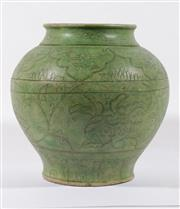 Sale 9003C - Lot 624 - Green Glazed Chinese Pottery Vessel Incised with Floral Decoration (Chip to base) (H: 30cm)