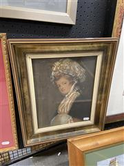 Sale 9033 - Lot 2096 - A Regency Portrait of Woman wearing Bonnett and Muff, hand-coloured engraving 40 x 33cm (frame) -