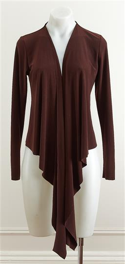 Sale 9101 - Lot 2101 - A Simona bolero jacket in a dark chocolate brown crepe with front tie, size 10