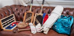 Sale 9103H - Lot 44 - A quantity of sporting gear including cricket, tennis, baseball etc.