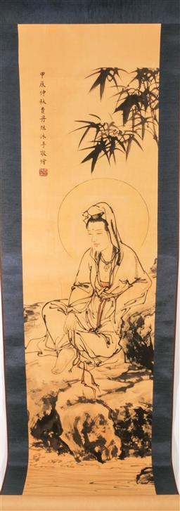 Sale 9110 - Lot 46 - A Chinese scroll of a sitting Guanyin (L 177cm)