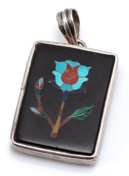 Sale 9164J - Lot 330 - A SILVER PIETRA DURA PENDANT; vintage rectangular black hardstone plaque inset with turquoise, jasper, lapis, malachite, mother of p...