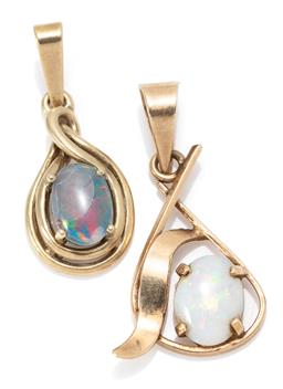 Sale 9164J - Lot 303 - TWO 9CT GOLD OPAL PENDANTS; drop shapes set with a solid white opal, pendent, size 24 x 14mm, other with an opal triplet,  size 20 x...
