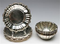 Sale 9175 - Lot 90 - A Set of Six Modern (0.900) Silver Rococo Style Bowls With A Set of Six Matching Saucers (Diameter 15cm & 12cm) (Comb wt 1.66kg)