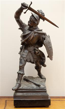 Sale 9190W - Lot 69 - A French spelter figure of a Crusader with shield and sword. Height 46cm