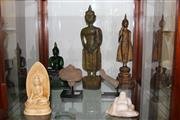 Sale 8189 - Lot 128 - Metal & Carved Timber Buddha Figures with Other Relics Mounted on Stands
