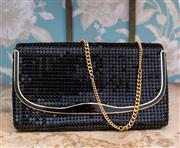 Sale 8474A - Lot 59 - A chic vintage black & gold Glomesh clutch purse with heavy gold chain, condition is very good, size: 28cm wide x 17cm high