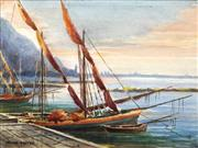 Sale 8692 - Lot 599 - Irene Carter (1900 - 1955) - Fishing Boats at Sunset, Naples, 1930 18.5 x 24.5cm