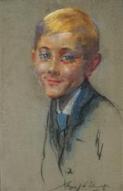 Sale 8838A - Lot 5015 - Artist Unknown (possibly Mary Edwards) - Portrait of a School Boy, 1926 47.5 x 31cm