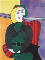 Sale 8938A - Lot 5065 - After Pablo Picasso (1881 - 1973) - The Red Armchair 73 x 51 cm (frame: 98 x 78 x 4 cm)