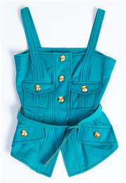 Sale 8926H - Lot 62 - A Christian Lacroix bright bubblegum peplum bustier with gold hexagonal buttons and matching belt, size 42, as new with tags