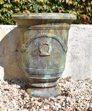 Sale 8972H - Lot 65 - A Cast iron French Anduze style urn with fine aged patina, Height 72cm x Diameter