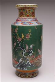 Sale 9044 - Lot 17 - A Chinese Green Ground Vase Featuring Birds and Flowers (Marked to base, H 50cm)