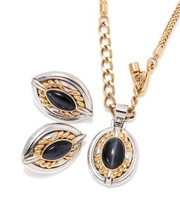 Sale 9168J - Lot 319 - A ST JOHN PENDANT NECKLACE AND EARRINGS SUITE;  silver and gold toned plaques each centring a cabochon cats eye stone, clip earrings...