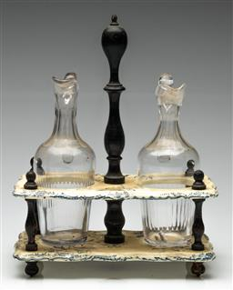 Sale 9190H - Lot 97 - An oil and vinegar duo in ceramic and timber stand, Height 32cm x Width 24cm