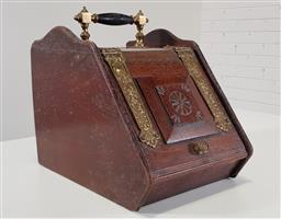 Sale 9215 - Lot 1015 - Late Victorian Oak & Brass Mounted Coal Scuttle, with carved hinged flap & ebonised handle (h:35 w:29 d:42cm)