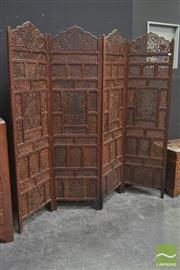 Sale 8251 - Lot 1013 - Heavily Carved Three Panel Oriental Screen