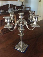 Sale 8530A - Lot 60 - A heavy antique English silverplate 5 light candelabrum C 1880 fitted with 4 writhen arms to a cast 2 part column on a shaped cast b...