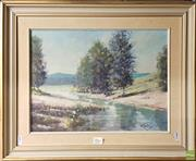 Sale 8600 - Lot 2061 - Artist Unknown-Landscape with River oil on board 44.4 x 55.5cm signed Kirby lower right