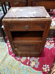 Sale 8774 - Lot 1045 - French Art Deco Oak Bedside Cabinet, with marble top, a drawer, open shelf & panel door