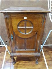 Sale 8740 - Lot 1400 - Raised Inlaid Timber Cabinet on Cabriole Legs
