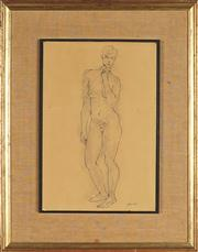 Sale 8824 - Lot 2003 - Maximillian Feurring (1896 - 1985) - Standing Nude 37 x 25cm