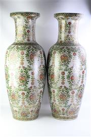 Sale 8827D - Lot 93 - Pair of Large Hand Painted Crackle Glaze Vases ( H 90cm)