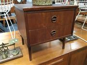 Sale 8859 - Lot 1064 - Vintage Teak Bedside with Cats Eye Handles