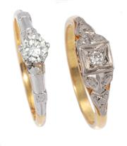 Sale 8937 - Lot 359 - TWO 18CT GOLD DIAMOND RINGS; a 0.33ct round brilliant cut solitaire chipped, other a 0.04ct Old European cut illusion set solitaire,...