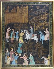 Sale 8958 - Lot 2067 - Indo Persian School Mughal Addresses his Audience acrylic and metalic on cotton, 106 x 84cm (frame)