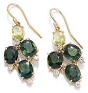 Sale 8965 - Lot 386 - A PAIR OF 18CT GOLD SAPPHIRE AND DIAMOND EARRINGS; quatrefoil form drops each set with 3 green oval sapphires surrounded by 4 round...