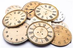 Sale 9185 - Lot 25 - A collection of various vintage clock faces and frames, some ex government department