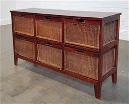 Sale 9218 - Lot 1066 - Timber framed chest of six wicker drawers (h77 x w140 x d40cm)