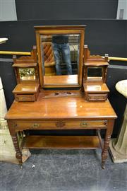 Sale 8035 - Lot 1002 - Four Drawer Timber Dressing Table On Turned Legs