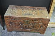 Sale 8251 - Lot 1012 - Heavily Carved Camphorwood Chest