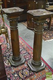 Sale 8359 - Lot 1025 - Good Pair of Carved Oak Pedestals, with Corinthian capitals, half-stopped flutes & square plinths