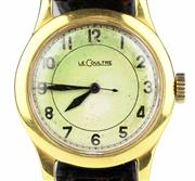 Sale 8402W - Lot 13 - JAEGER-LE COULTRE WW2 SERVICE WRISTWATCH; with Arabic numerals, centre seconds in a gold plated case on a 15 jewell cal. 440 movemen...