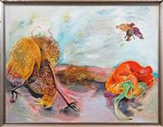 Sale 8434 - Lot 576 - Anne Hall (1945 - ) - Pheasant and Red Pepper 79 x 103cm