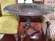 Sale 8428 - Lot 1094 - Victorian Painted Occasional Table, the oval top with faux burr & ebony finish on turned pedestal