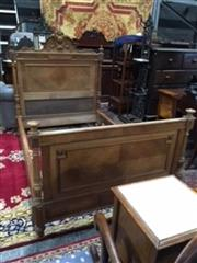 Sale 8774 - Lot 1042 - Late 19th Century French Eclectic Style Walnut 3/4 Bed, with carved headboard, turned corner posts & with side rails