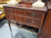 Sale 8740 - Lot 1326 - Raised Timber Hall Table with Two Drawers (H: 89 W: 96.5 D: 40.5cm)