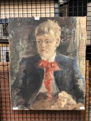Sale 8784 - Lot 2050 - Artist Unknown - Portrait of Schoolboy, oil on canvas, 51 x 41.5cm, signed lower left, inscribed verso