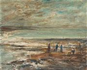 Sale 8821 - Lot 517 - George Feather Lawrence (1901 - 1981) - Untitled, 1972 (Beach scene with Figures) 40.5 x 50cm