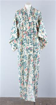 Sale 8800F - Lot 62 - A vintage kimono with blossom and foliage pattern on cream ground